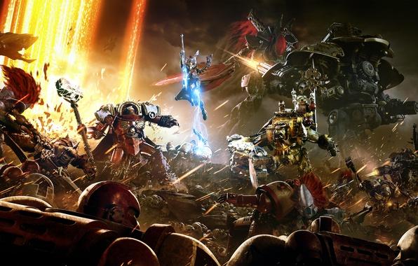 Картинка Армия, Warhammer, Броня, Миниган, Экипировка, Sega, Relic Entertainment, Minigun, Mech, Warhammer 40 000: Dawn of …
