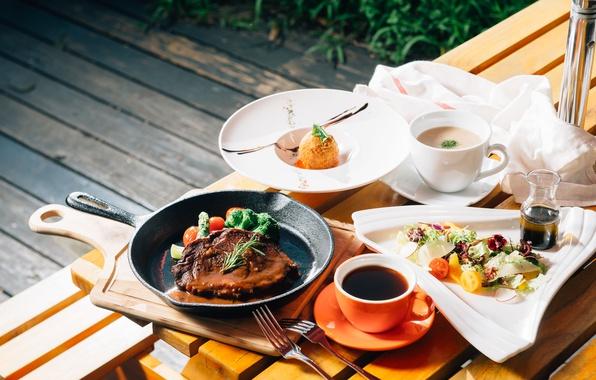 Картинка чай, суп, мясо, десерт, салат, ассорти