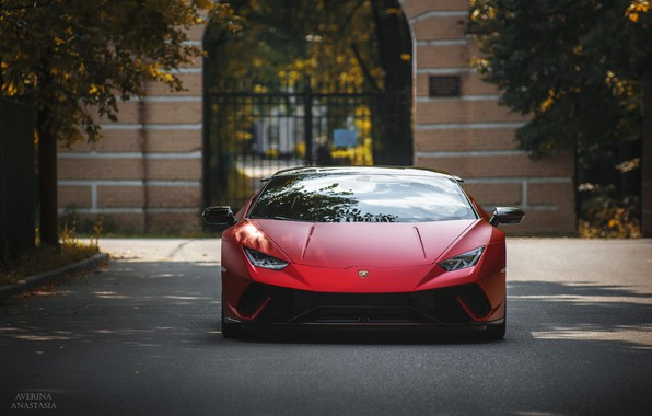 Картинка Lamborghini, Front, autumn, RED, Huracan