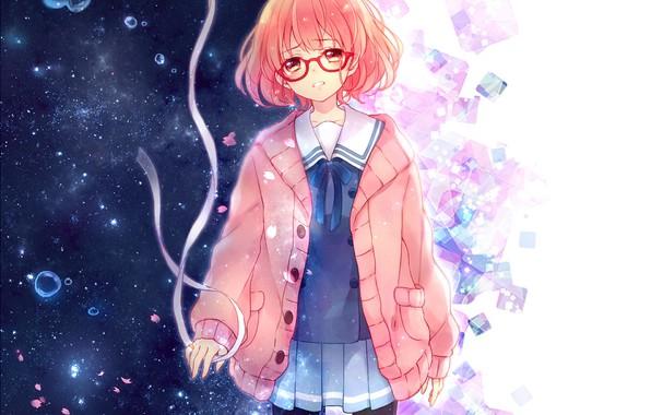 Картинка девушка, аниме, лепестки, слезы, арт, лента, kyoukai no kanata, kuriyama mirai, yamada konayuki