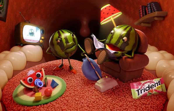 Картинка арбуз, семья, арт, фрагмент, арбузик, AJ Jefferies, Trident Watermelons