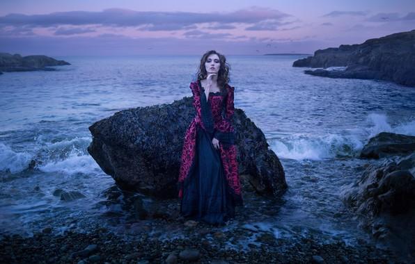 Картинка девушка, поза, камни, настроение, океан, скалы, платье