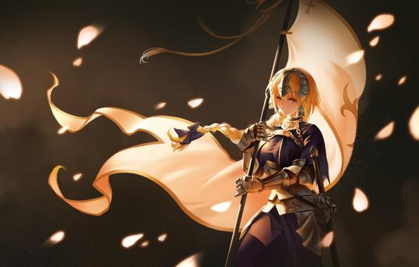 Картинка девушка, фон, аниме, флаг, Fate / Grand Order