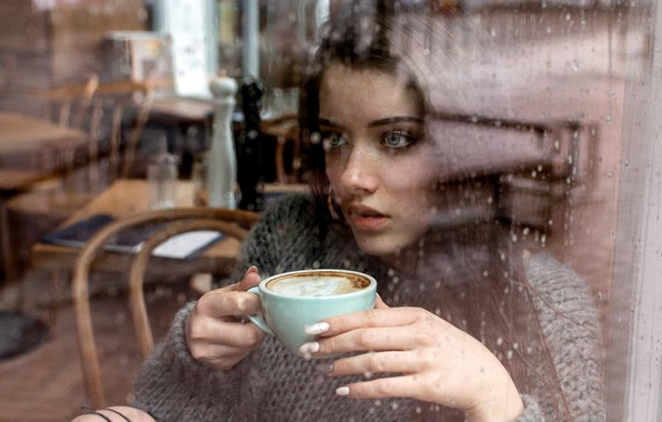 Картинка Girl, rain, long hair, blue eyes, model, cup, mood, water drops, bokeh, window, lips, face, ...