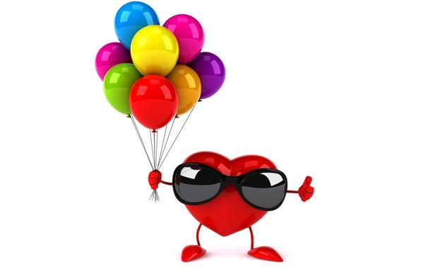 Картинка воздушные шары, сердце, colorful, очки, red, heart, funny, rendering, balloons, sunglasses, 3D Art