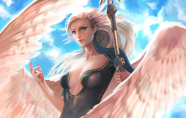 Картинка girl, fantasy, magic, cleavage, breast, wings, blue eyes, feathers, Angel, blonde, artwork, fantasy art, chest, …
