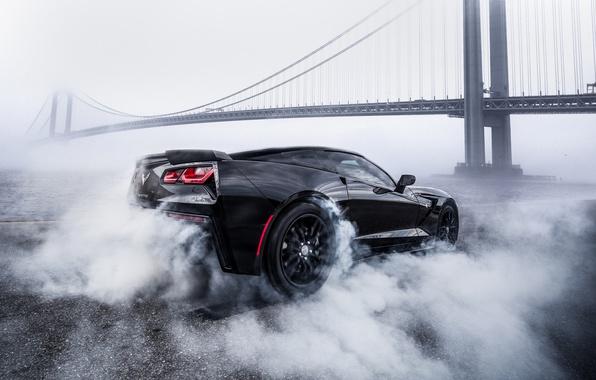 Картинка мост, дым, Corvette, Chevrolet, black, smoke, Chevrolet Corvette