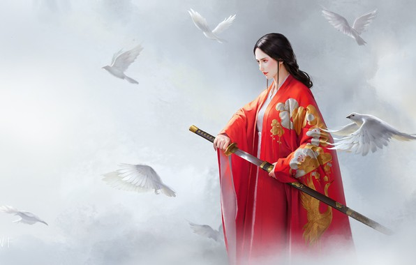 Картинка девушка, оружие, фэнтези, арт, голуби, Red, wenfei ye