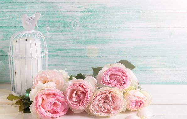 Картинка цветы, розы, букет, розовые, vintage, wood, pink, flowers, roses, candle
