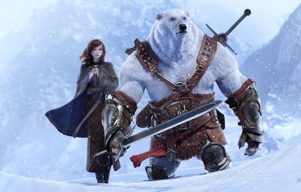 Картинка снег, арт, мишка, девочка, fantasy, полюс, Epic Quest, rico cilliers