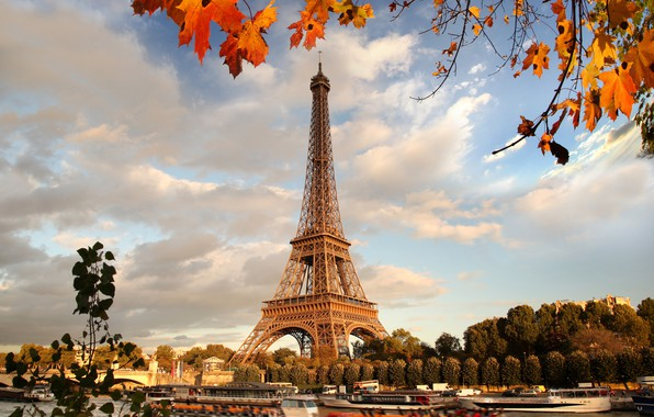 Картинка осень, Франция, Париж, Paris, river, France, autumn, leaves, Eiffel Tower, cityscape