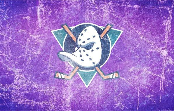 Картинка лёд, эмблема, утка, Anaheim Ducks, Анахайм, Mighty Ducks, могучие утки, клюшки, anaheim, хоккейная маска, маска …