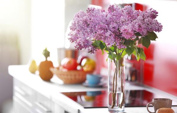 Картинка цветы, комната, букет, кружка, ваза, сирень, боке