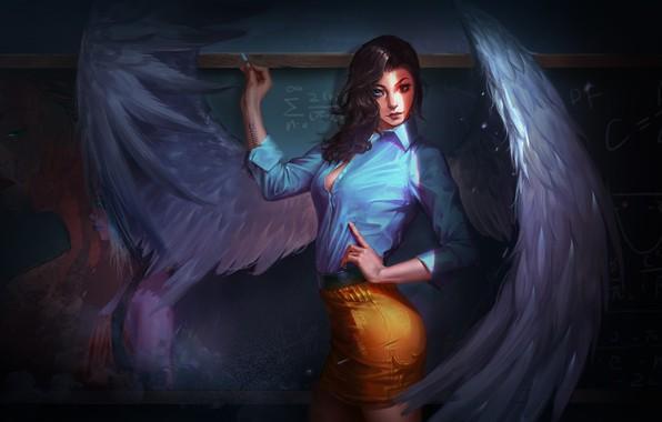 Картинка взгляд, девушка, крылья, ангел, фэнтези, арт, доска, училка, мел