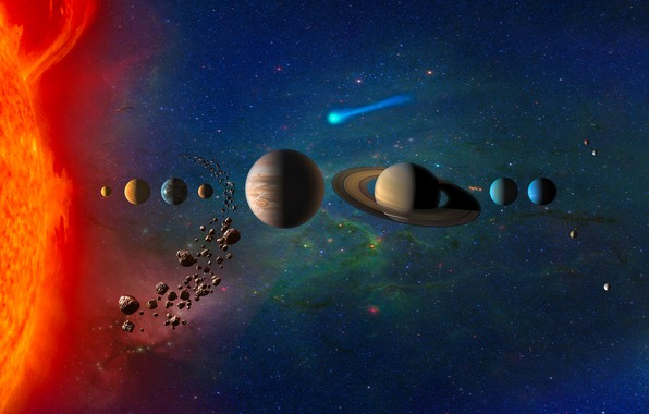 Фото обои Уран, Венера, Меркурий, Нептун, Юпитер, Солнечная Система, Planets in Solar System, Земля, комета, звёзды, Марс, ...