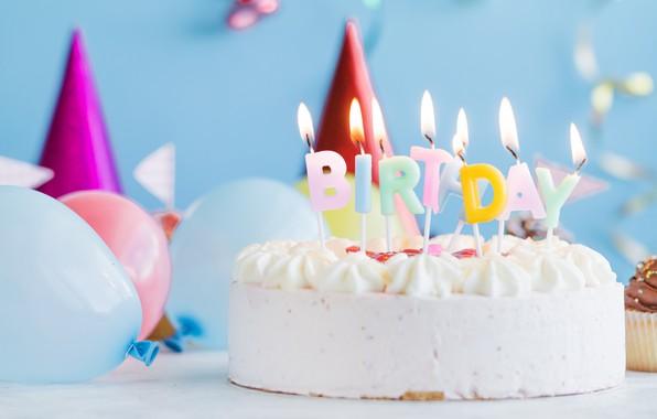 Картинка праздник, шары, свечи, торт, день рожденье