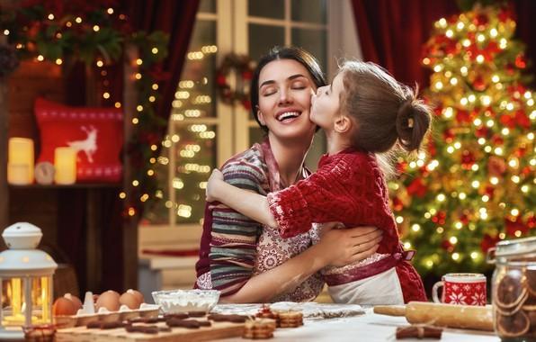 Картинка радость, праздник, новый год, мама, дочь