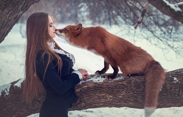 Картинка девушка, дерево, ситуация, поцелуй, лиса, рыжая, длинные волосы, Сергей Граблёв