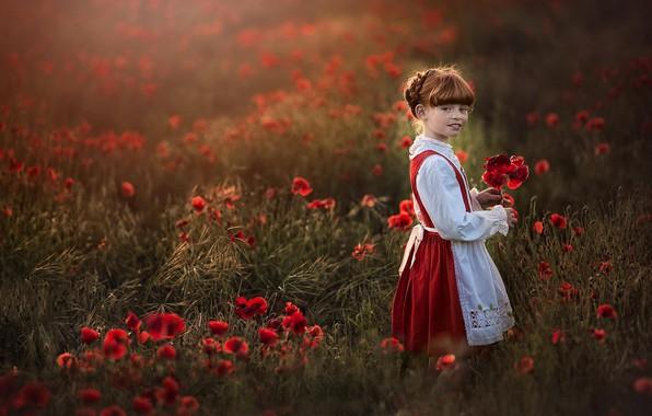 Картинка цветы, маки, луг, девочка, веснушки, рыжая, конопатая
