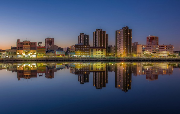 Картинка twilight, river, sunset, Argentina, dusk, reflection, blue hour, cityscape, Buenos Aires, urban scene, Río de …