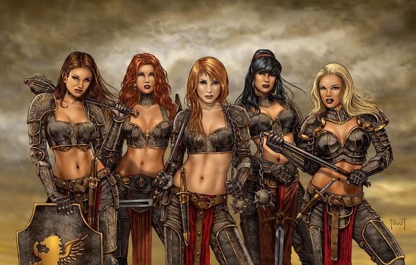 Картинка red, girl, red hair, weapon, redhead, brunette, blonde, shield, warrior, dagger