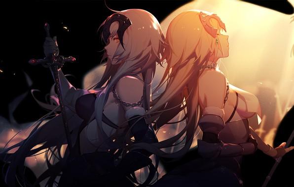Картинка свет, оружие, девушки, меч, аниме, asukaziye, fate/grand order, jeanne d'arc, fate/apocrypha, jeanne d'arc alter