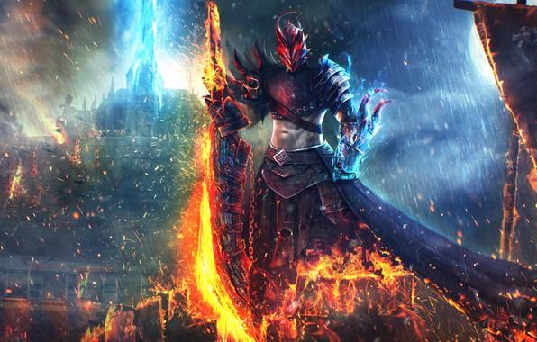 Картинка огонь, меч, Guild Wars 2, art, Dragonhunter