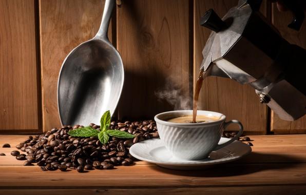 Картинка листья, кофе, горячий, пар, чашка, блюдце, зёрна, заварник, совок, кофейник