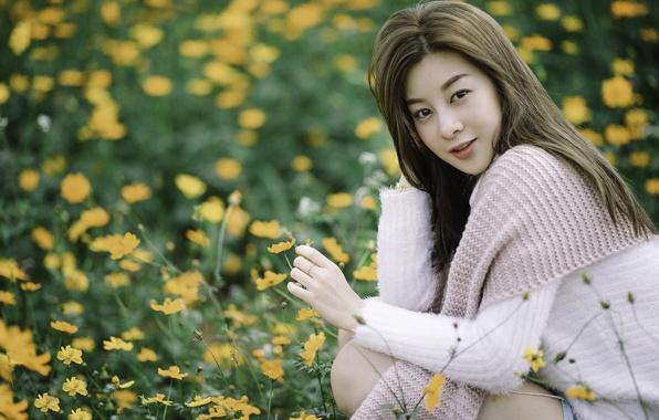 Картинка взгляд, цветы, волосы, луг, азиатка, боке
