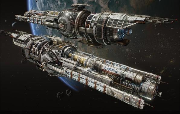 Картинка космос, фантастика, корабль, планета, арт, hans palm, USR Guardian - Fractured Space