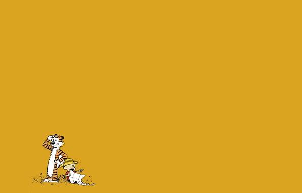 Картинка тигр, ребенок, мальчик, комикс, Calvin and Hobbes, Кельвин и Хоббс, Кельвин, Хоббс
