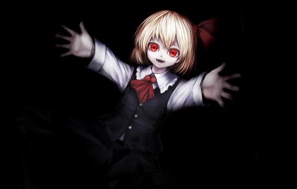Картинка красные глаза, малышка, безумие, art, в темноте, тянет руку, Rumia, Touhou Project, одержимая, Проект Восток, …