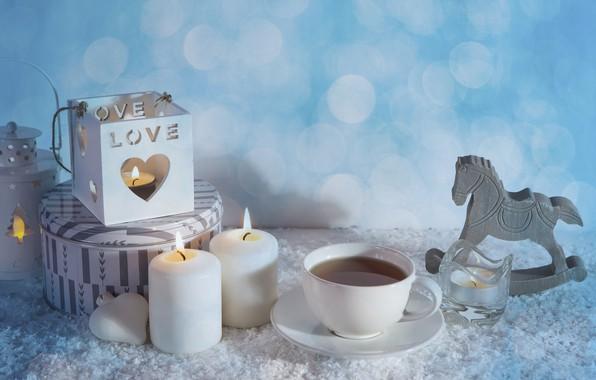 Фото обои чай, свечи, разности