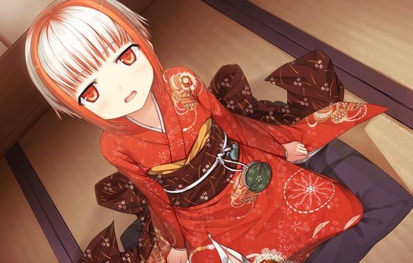 Картинка улыбка, девочка, кимоно, art, смотрит вверх, visual novel, cura, monobeno, sumi, татами