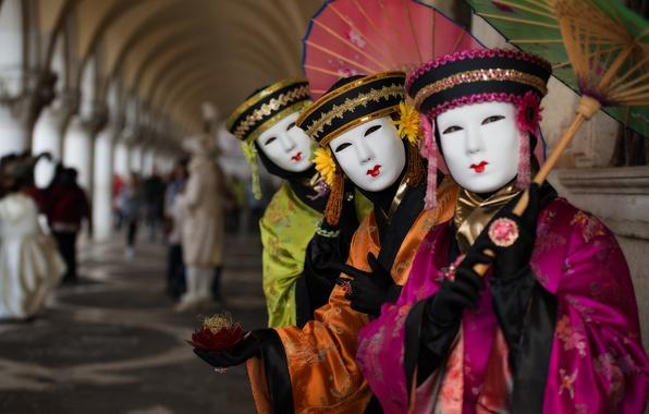 Картинка зонт, маска, Италия, костюм, Венеция, карнавал
