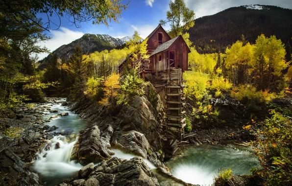 Картинка осень, деревья, горы, скала, река, Колорадо, водяная мельница, Colorado, Crystal, Crystal Mill, Crystal River, Кристал, …