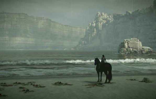 Картинка море, скалы, прибой, всадник, Shadow of the Colossus, В тени колосаа