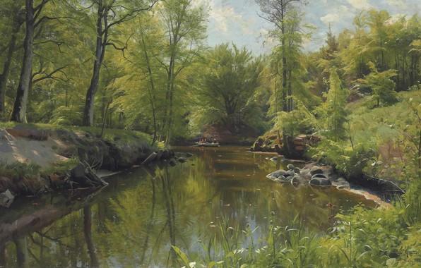 Картинка датский живописец, 1922, Петер Мёрк Мёнстед, Peder Mørk Mønsted, Danish realist painter, Гребля на реке …