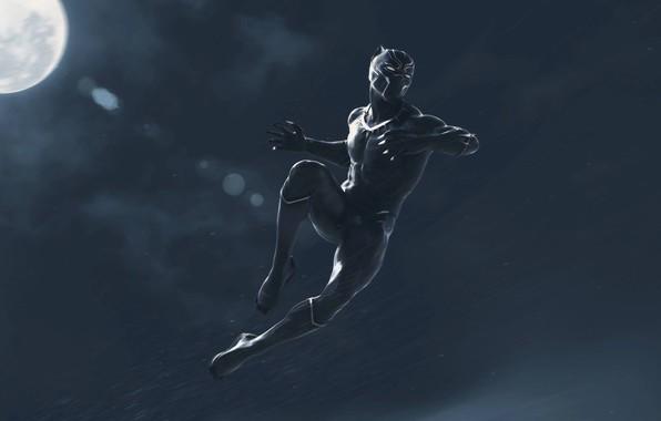 Картинка ночь, фантастика, прыжок, луна, черный, арт, костюм, Black Panther, Чёрная Пантера