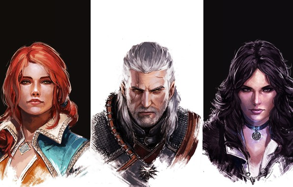 Картинка girl, game, The Witcher, woman, man, hunter, witch