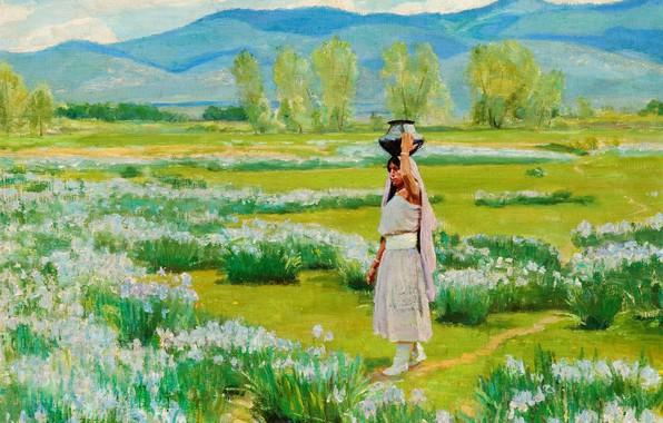 Картинка цветы, кувшин, Taos Pueblo, Bert Geer Phillips, or Daughter of the Water Clan, The Water …