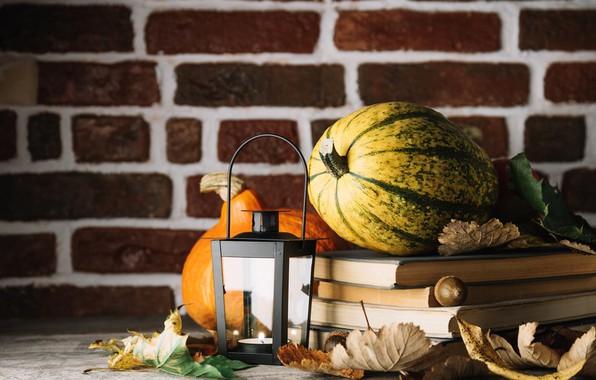 Картинка осень, листья, чай, книги, тыква, напиток
