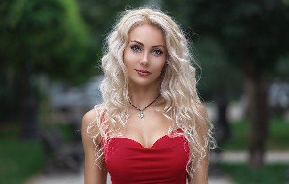 Картинка girl, long hair, dress, photo, photographer, blue eyes, model, lips, face, blonde, necklace, red dress, …