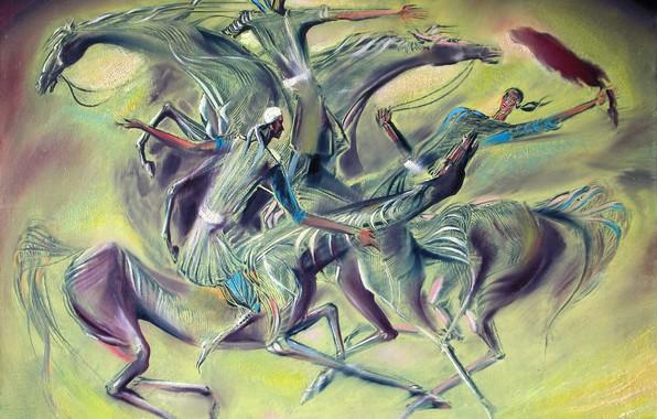 Картинка девушки, игра, лошади, добыча, Айбек Бегалин, 2003г, Кокпар