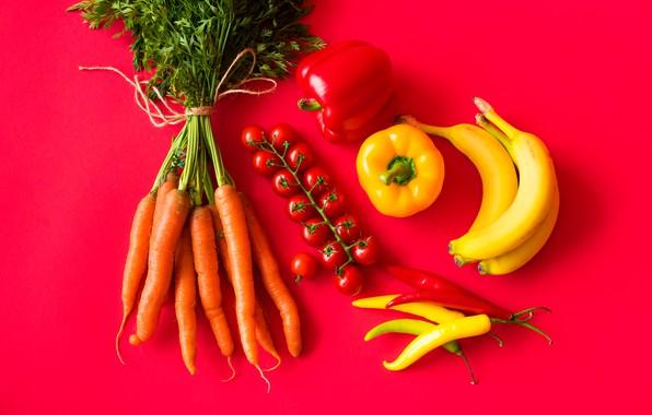 Картинка бананы, перец, овощи, помидоры, морковь, томаты