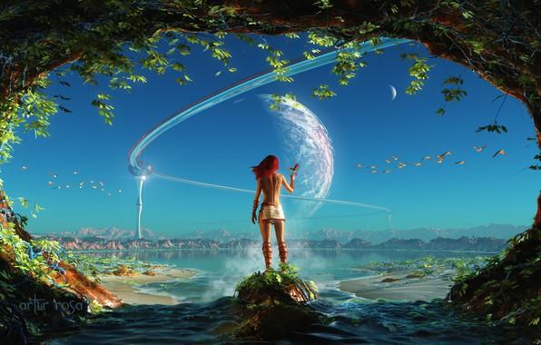 Картинка небо, вода, девушка, фантастика, птица, планета