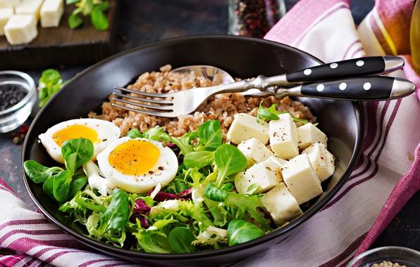 Картинка яйцо, еда, овощи, каша, руккола, сыр Фета