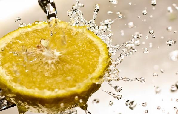 Картинка вода, макро, лимон