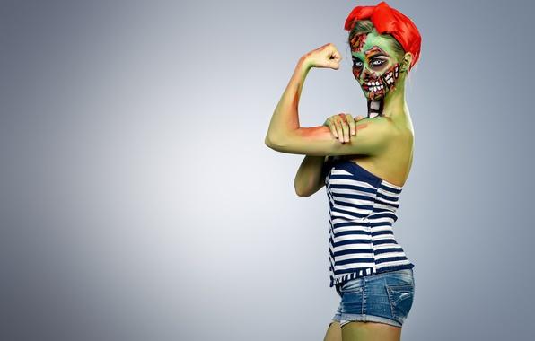 Картинка zombie, model, pose, Makeup