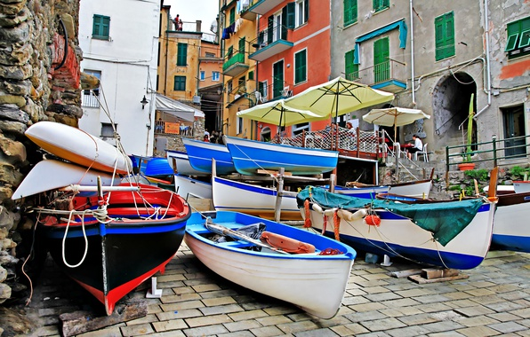 Картинка улица, побережье, вилла, лодки, Италия, домики, Riomaggiore, travel